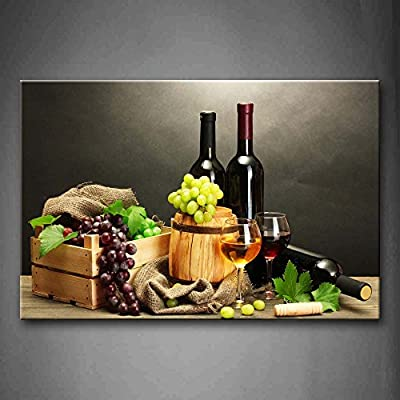 First Wall Art - Grape Wine In Bottle Cups Wall Art Painting The Picture Print On Canvas Food Pictures For Home Decor Decoration Gift