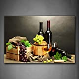 wine and grapes canvas art - Grape Wine in Bottle Cups Wall Art Painting The Picture Print On Canvas Food Pictures for Home Decor Decoration Gift