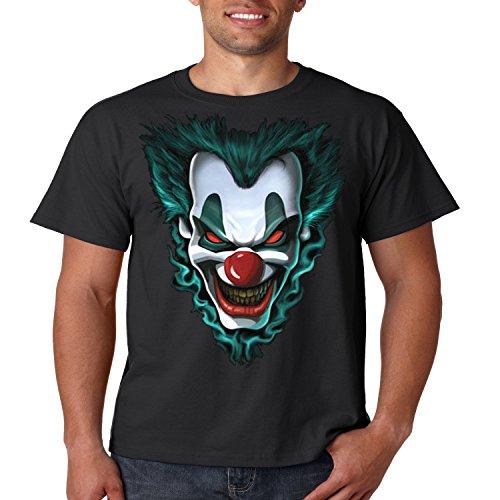 Evil Clown T Shirt Freak Show Liquid Blue Mens Tee S-5XL (Black, 5XL) ()