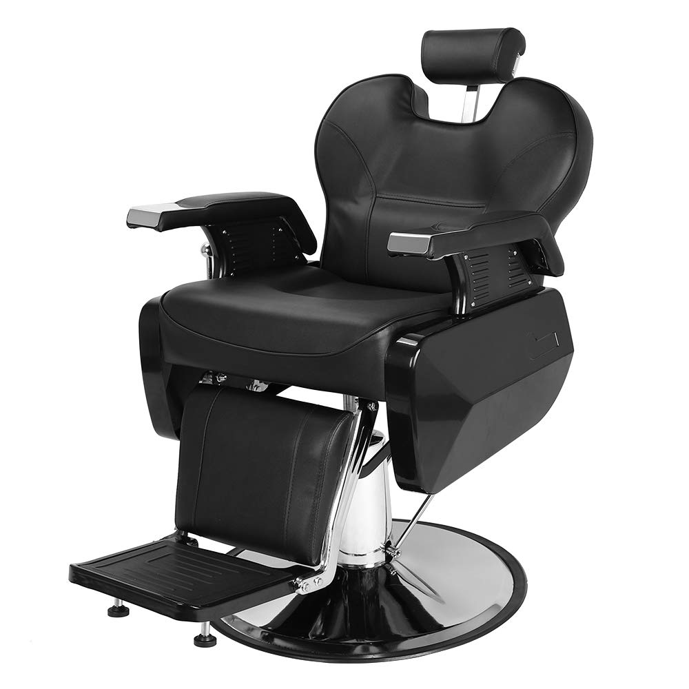 Goujxcy Hydraulic Reclining Salon Barber Chair Heavy Duty Barber Salon Spa Equipment with 360 Swivel Deluxe and Hydraulic Pump for Shampoo Facial Massage Black