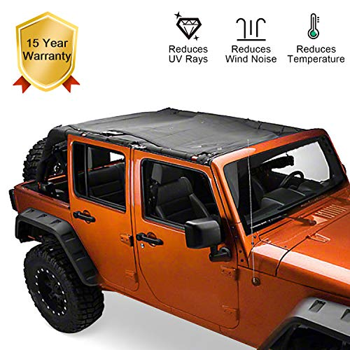Jeep Wrangler Mesh Shade Top Cover Provides UV Protection 2007-2017 4-Door JKU Jeep JK Roof Sun-shade Mesh Shade for Jeep Wrangler with 15 years Warranty ()