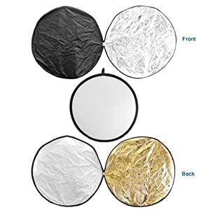 GTMax 43-inch 110CM Round Collapsible Multi Disc Light Reflector 5 in 1: Translucent, Silver, Gold, White, and Black for Studio or any Photography Situation