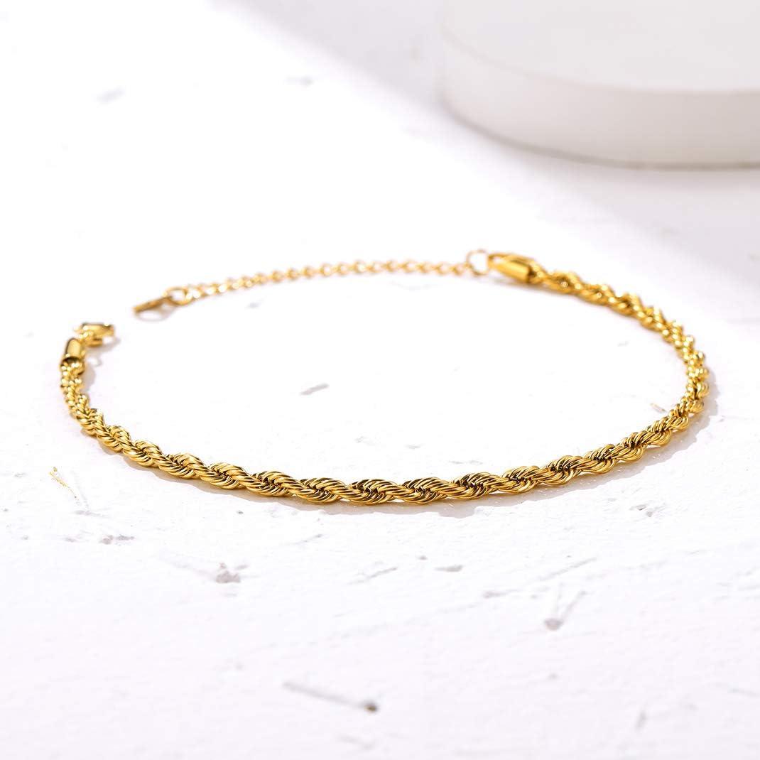 GoldChic Jewelry Catena con Cavigliera in Oro per Ragazze da Donna Bracciale Regolabile per Sandali Estivi Gioielli a Piedi Nudi vestibilit/à Flessibile