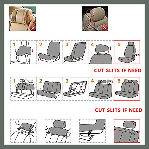 AUTOYOUTH Car Seat Covers Universal Fit Full Set Car Seat Protectors Tire Tracks Car Seat Accessories - 9PCS,Beige by AUTOYOUTH (Image #5)
