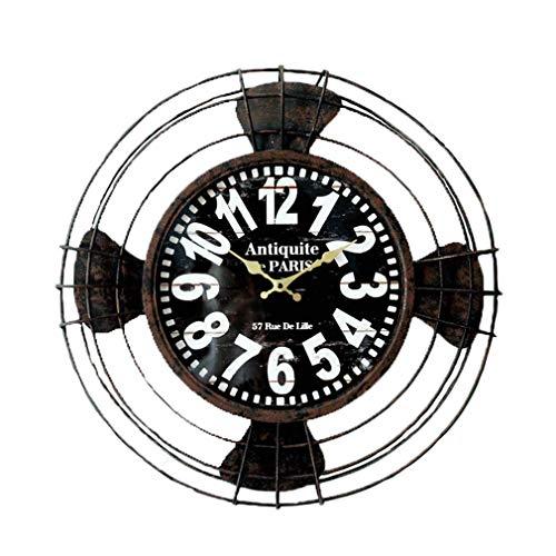 B&MF Wall Clock Creative 3D Iron Fan Model Wall Clock Fashion Hollow Round Electric Fan Antique Design Wall Clock Silent