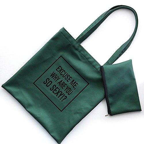Moda Mujer Carta impresión funda de piel sintética bolso de mano bolsa bolso de hombro bolsa verde verde talla única verde