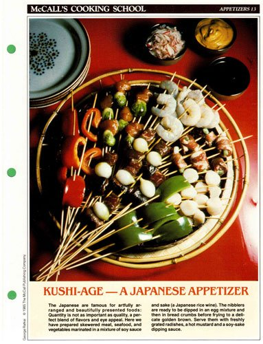 McCall's Cooking School Recipe Card: Appetizers 13 - Skewered Japanese Nibblers (Replacement Recipage / Recipe Card For 3-Ring Binders)