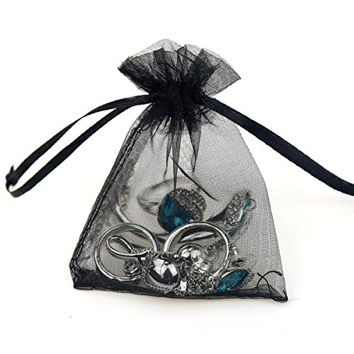 100pcs 3.6x4.8''(9x12cm) Organza Gift Bags, Drawstring Pouches Jewelry Party Wedding Favor Gift Bags,Candy Bags. (Black)