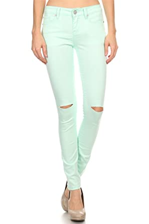 Vialumi Women's Solid Colored Pants Slashed Knee Skinny Jeans ...