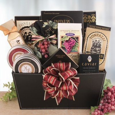 Silver Bells Gourmet Wine Themed Holiday Gift Basket by Organic Stores