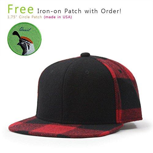 Adjustable Premium Baseball Cap (VintageYear Premium Wool Blend Plaid Adjustable Snapback Baseball Cap (Black/Red Quail))
