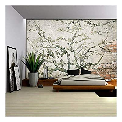 Stunning Style, Almond Blossom Painting by Vincent Van Gogh on a Brick Wall with Cement Wall Mural, Crafted to Perfection