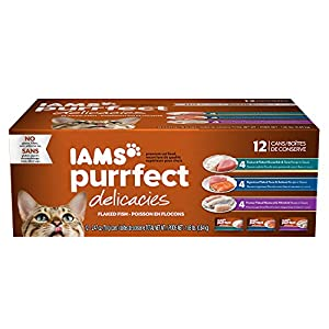 IAMS PURRFECT DELICACIES Flaked Fish Recipes in Sauce Wet Canned Cat Food 2.47 oz. (Pack of 12) 94