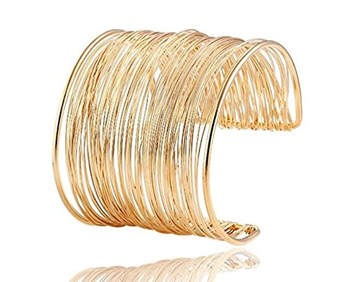 18k Gold Plated Cuff - Global Huntress 18K Gold Plated Wide Coil Cuff Bracelet Contoured Wrapping Elegantly Around Your Wrist