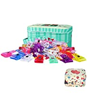 Sewing Clips, Quilting Supplies 100PCS Multipurpose Plastic Clips with Tin Box for Crafting, Crochet and Knitting, Quilting Binding Clips, Paper Clips, Assorted Colors 100 Pack 2 Sizes