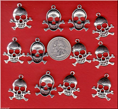 LOT of 12 Silver Tone Skull and Cross Bones Metal Charms. C 1 Crafting Key Chain Bracelet Necklace Jewelry Accessories Pendants