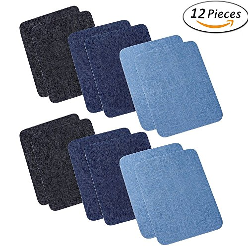 12 Pieces 12 PCS 3 Colors Jeans Patch Iron On Patches Repair Elbow Knee Denim Patches Applique For Clothes Stickers Clothing Accessories(4.9