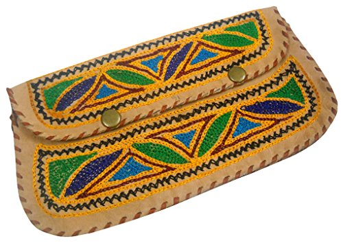 Leather Color Women's Hand Pure Purse Camel Beautiful 100 Handmade Multi Embroidered 1Zafq