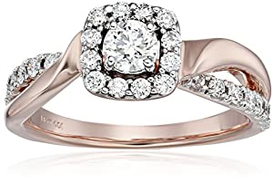 IGI Certified 14k Rose Gold Halo Diamond (3/4cttw, H-I Color, I1-I2 Clarity) Engagement Ring, Size 8