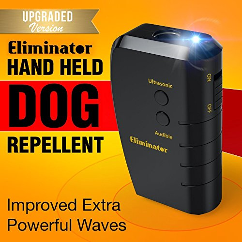No Digging (Eliminator Ultrasonic Dog Repellent & Trainer with Bright LED Flashlight / Powerful Dog Deterrent – Stops Barking + Good Behavior Dog Training [UPGRADED VERSION])