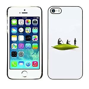 [Neutron-Star] Snap-on Series Teléfono Carcasa Funda Case Caso para iPhone 5 / 5S [River Boat Hombres blancos minimalista]