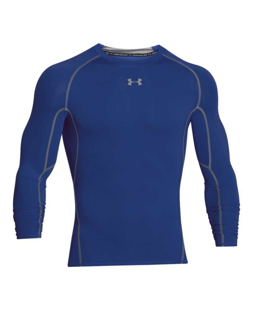 Under Armour Men's HeatGear Long Sleeve Compression Shirt, Royal (400)/Steel Small by Under Armour (Image #4)