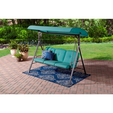 Mainstay` Forest Hills Outdoor 3-Person Cushioned Canopy Porch Swing, Teal + Handi Wipes