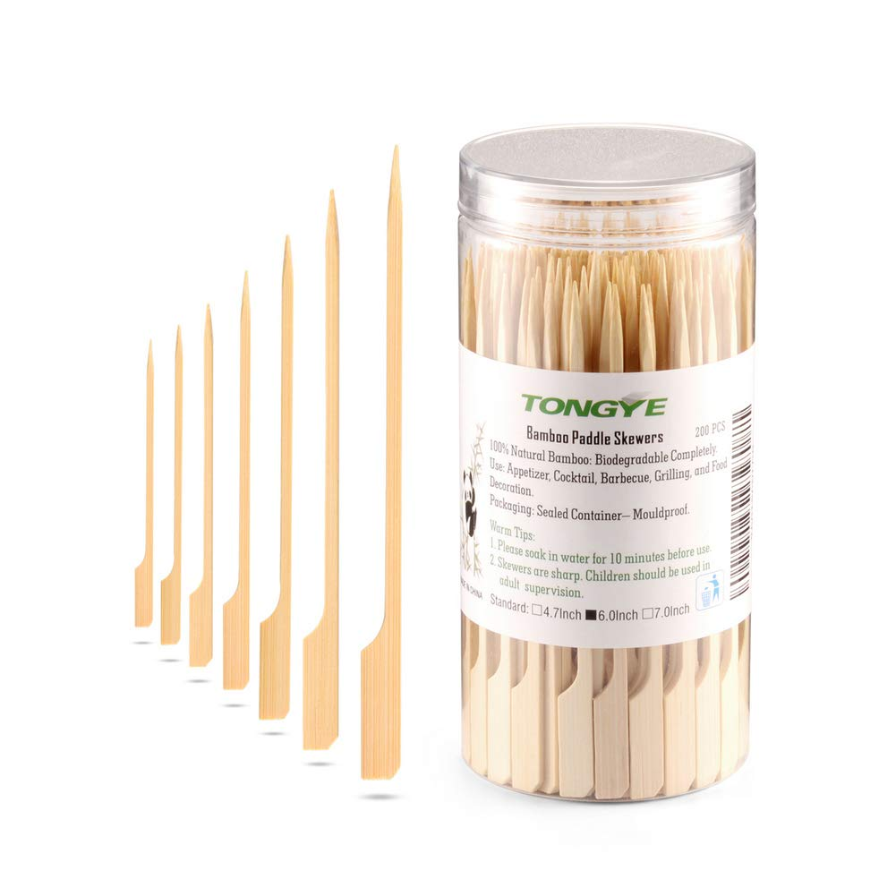 Bamboo Paddle Skewers 6 Inch with Clear Cylinder, Food Grade Cocktail Picks, Barbecue Stick. Decoration for Party Food, Appetizer, Dessert, Fruit, Sausage, Burger, Prawn, Kebab. (200PCS Natural Color)