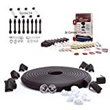 SafeBaby & Child Proofing 23.2ft Edge /16 Corners Baby proofing Present Set +14 Locks Kit +26 Corner Guards childproofing Gift Pack. Clear Protective Bumpers Fridge/Toilet Lead Lock. Black Brown