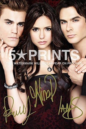 The Vampire Diaries Poster Photo Signed Pp by 3 Cast Ian Somerhalder, Paul Wesley,