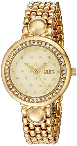 Burgi Women's Quartz Stainless Steel Casual Watch, Color:Gold-Toned (Model: BUR170YG)