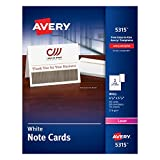 """Avery White 4-1/4"""" x 5-1/2 Laser Note Cards, 2 Cards/Sheet, 60 Cards & Envelopes/Box (5315)"""