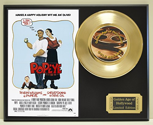 Popeye with Robin Williams Limited Edition Gold 45 Record Display. Only 500 made. Limited quanities. FREE US SHIPPING