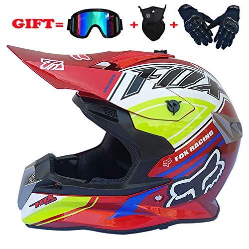 AOSHE Motocross Helmet-Motorbike Helmet Sun Visor - Motorcycle Bike Riding Racing Helmet for Mens Boys Giving Goggles, Masks, Gloves,A,XL