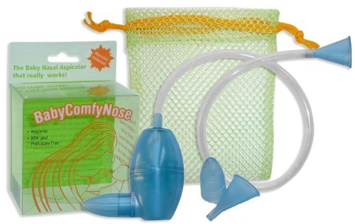 BabyComfyNose Nasal Aspirator BLUE With Extra Nose Tip and Mouth Piece | #1 Tested Snot Sucker Gift, Baby, NewBorn, Child