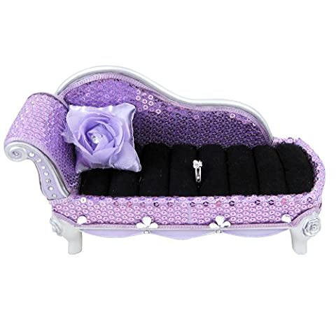 Sequined Rose Chaise Lounge Ring Holder, Lavender (Chaise Purple)
