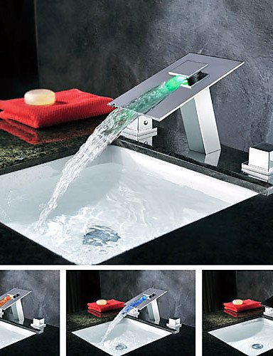 Royal-Contemporary Waterfall LED Color Changing Chrome Waterfall Bathroom Sink Faucet