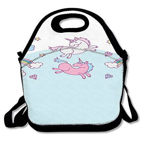 Unicorn Horse Funny Insulated Thermos Polyester Backpack Women Men Kids Teen Girls Black Lunch Bag Tote Food Storage Carrying Case For Outdoor Work