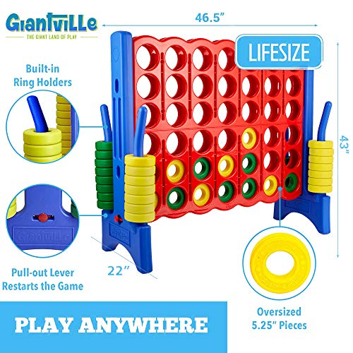 Giant 4 in a Row Connect Game - Storage Carry Bag Included - 4 Feet Wide by 3.5 Feet Tall - Oversized Floor Activity for Kids and Adults – Jumbo Sized for Outdoor and Indoor Play - Durable Waterproof