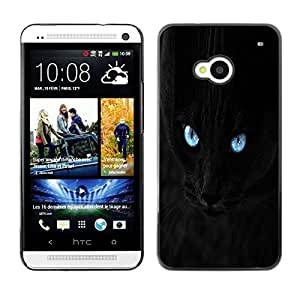 LECELL -- Funda protectora / Cubierta / Piel For HTC One M7 -- Blue Eye Black Cat --
