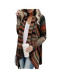 Women Tassel Knitted Cardigan Sweater Poncho Shawl Coat Jacket Outwear