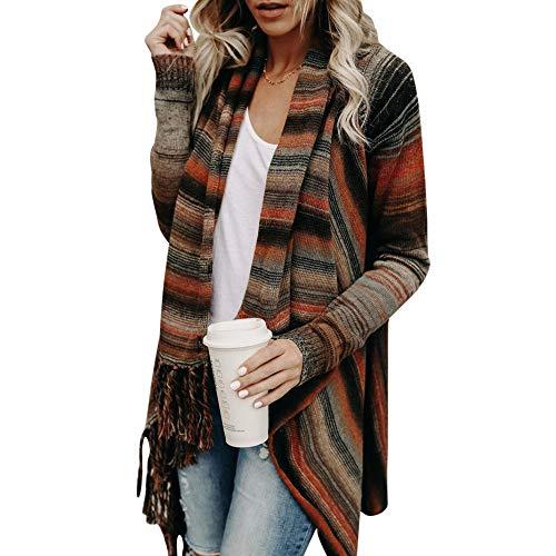 GODTOON カーディガン レディース タッセル ロング ストライプセーター ショールコート 上着 秋服 不規則 日常 かっこいい 出かけ 新品 人気 長袖 柔らかい 普段着 シンプル かわいい 着痩せ カジュアル 魅力的 個性 ファクション