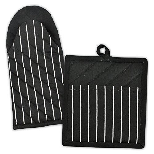 Check Oven Mitt (DII 100% Cotton, Machine Washable, Everyday Kitchen Basic, Stripe Commercial Grade, Restaurant Quality  Chef Oven Mitt and Potholder Gift Set, Black)