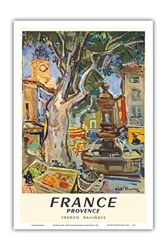 Provence, France - French National Railways - Market in Aix-en-Provence - Vintage World Travel Poster by André Planson c.1957 - Master Art Print - 12in x 18in ()