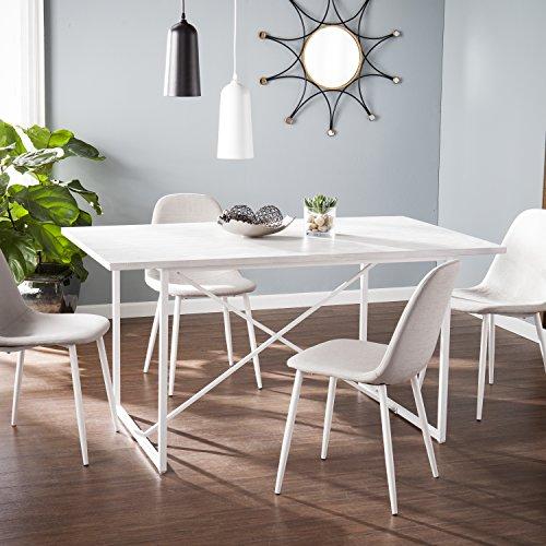 Coronado Contemporary Rustic 6-Seater Rectangular Dining Table - Whitewashed Gray - 60