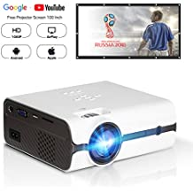 """DOACE P3 Video Projector, HD 1080P, 2200 Lumens with Portable Screen 100"""" for Indoor Outdoor Use, Home Theater Projector Support USB SD Card VGA AV for Home Cinema TV Laptop Game Smartphone (White)"""