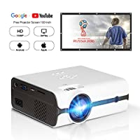 "DOACE P3 Video Projector, HD 1080P, 2200 Lumens with Portable Screen 100"" for Indoor Outdoor Use, Home Theater Projector Support USB SD Card VGA AV for Home Cinema TV Laptop Game Smartphone (White)"
