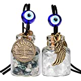 Zodiac Libra Angel Wings Small Car Charms or Home Decor Gem Bottles Moss Agate Quartz Birthstone Amulets