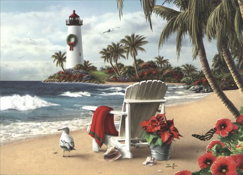 18 Christmas Cards and Envelopes, White Chair on the Beach (Lighthouse Christmas Cards)