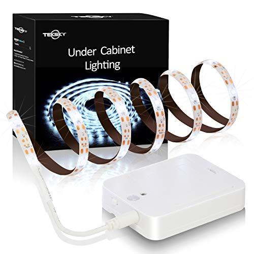 (TekSky Under Cabinet Lighting - Stick-On Anywhere Motion Sensor Light Warm White 3.3 Ft - Flexible LED Strips for Wardrobe Kitchen Cupboard Monitor Back Shelf Porch Bench 3 AA Batteries (Not Included))
